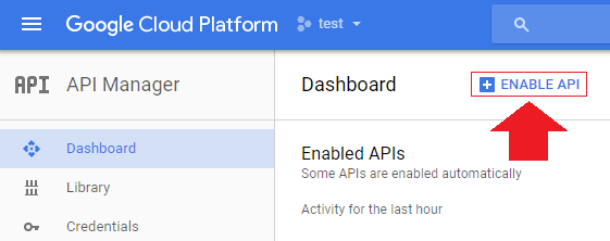 after reaching your api dashboard click enable api at the top of the screen transfer wordpress domain to google cloud hosting