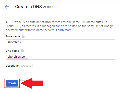 i will be configuring the domain name eborchids.com so in the zone name field i will enter eborchids and in the dns field i will enter eborchids.com