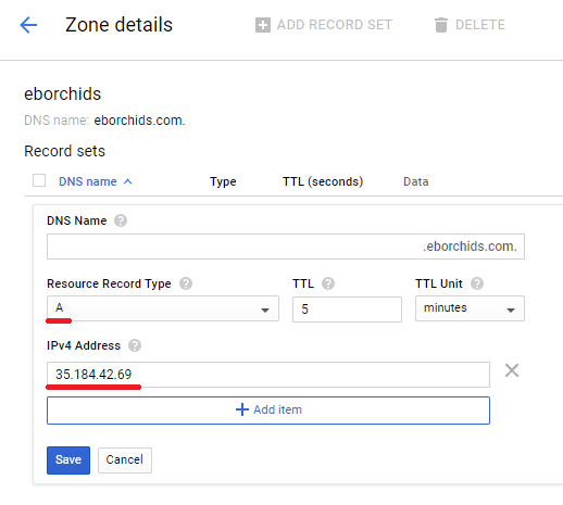 add an a record as record type and your ipv4 address in the field below transfer wordpress domain to google cloud