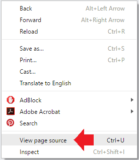 press ctrl+u to view the page source