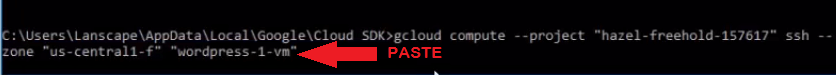 go back to sdk terminal and paste gcloud command manage wordpress files on google cloud platform