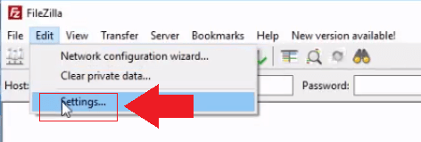 open filezilla and go to edit then settings manage wordpress files on google cloud