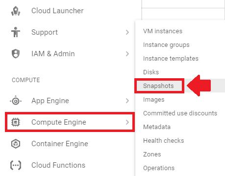 compute engine snapshots link
