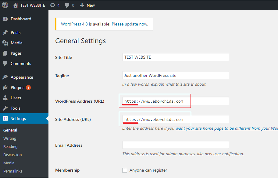 change wordpress settings