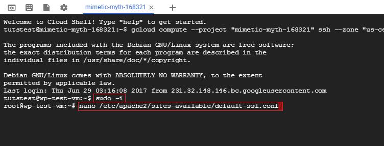 enter ssl configuration file