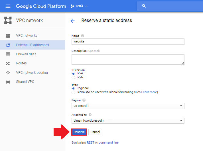 reserve static ip address wordpress on google cloud