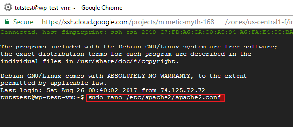 google cloud apache2 configuration file