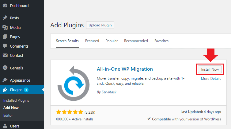 migrate wordpress installation all-in-one wordpress migration plugin