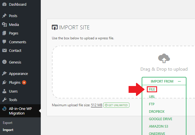 migrate wordpress installation import file