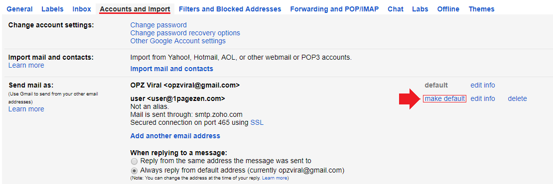 forward zoho mail to gmail