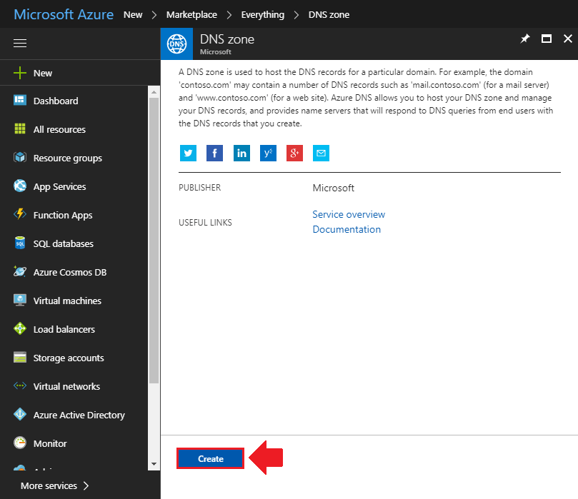 transfer domain name to azure create dns zone