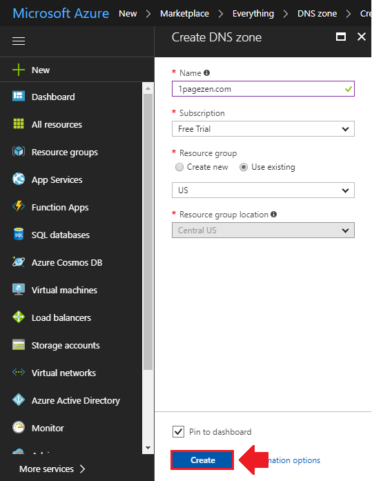 transfer domain name to azure create dns zone configure dns settings
