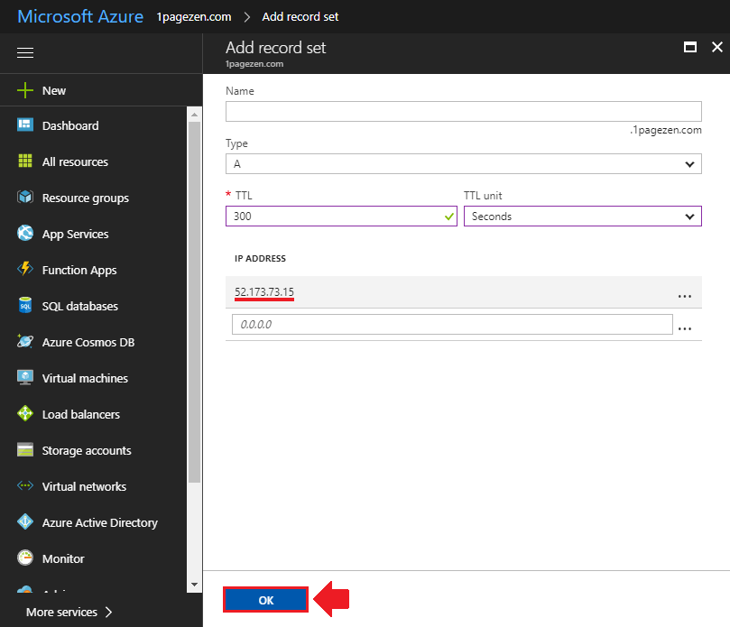 transfer domain name to azure add a record