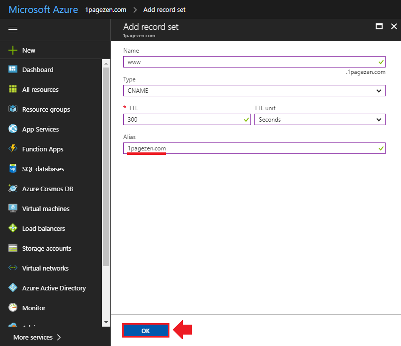transfer domain name to azure add a cname record
