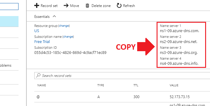 migrate wordpress to azure create dns zone add record set copy nameservers