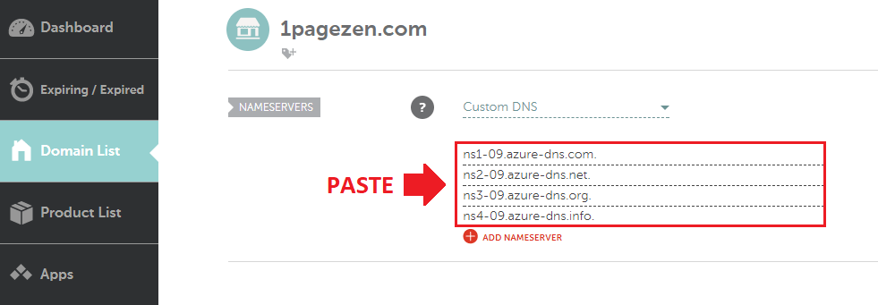 transfer domain name to azure change nameservers