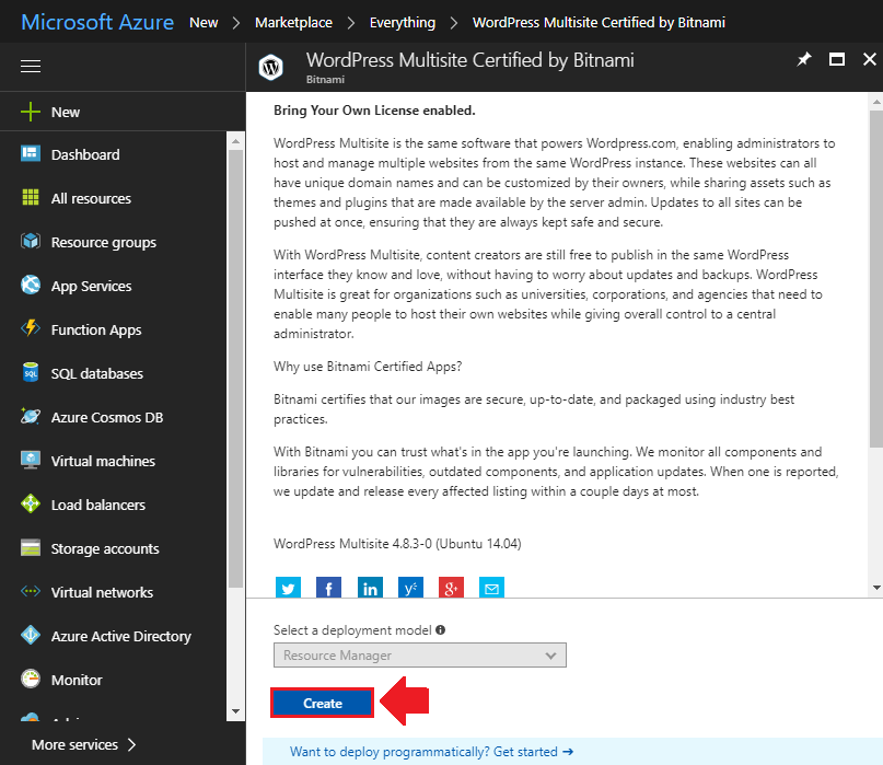 how to install wordpress on azure deploy wordpress