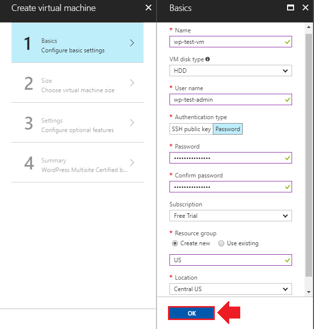 migrate wordpress to azure basic settings