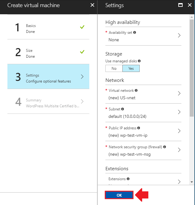 migrate wordpress to azure network settings