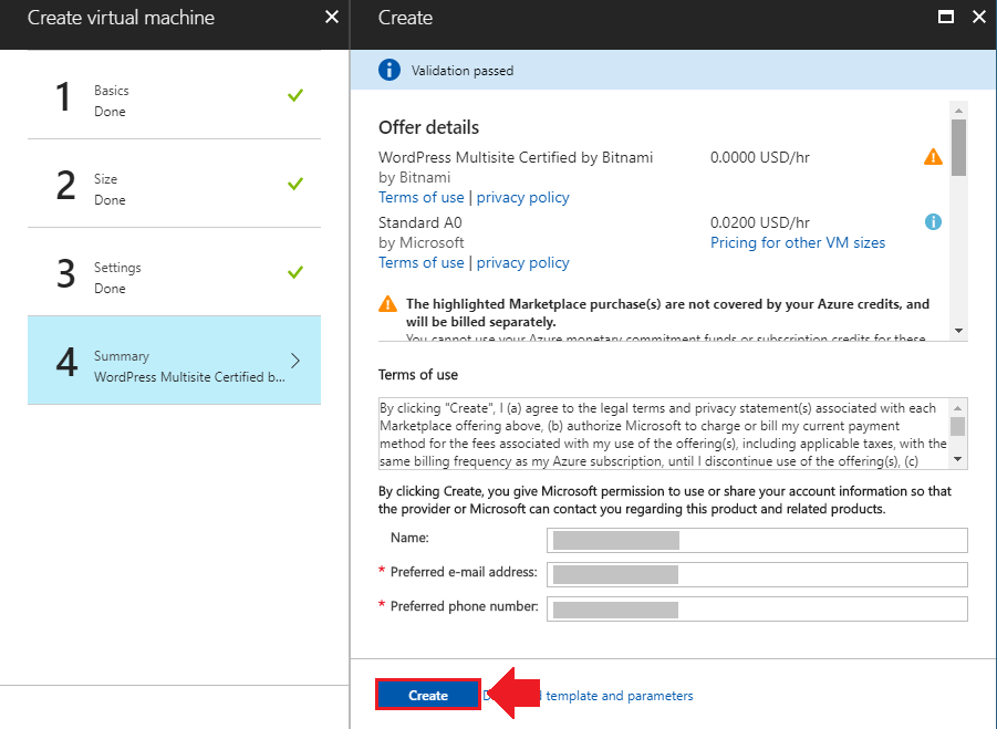 how to install wordpress on azure finalize deployment settings