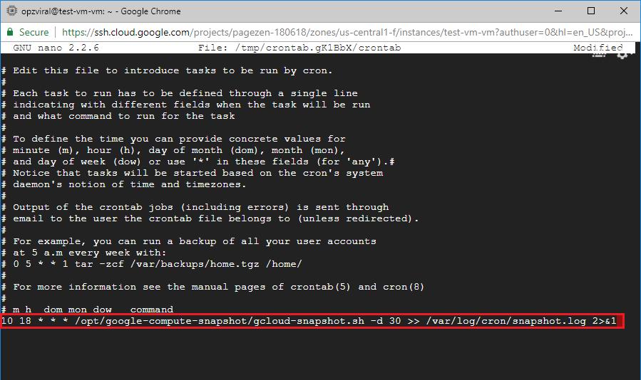 configuring backups websites on google cloud