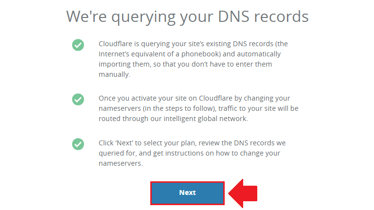 click the next button to query dns records