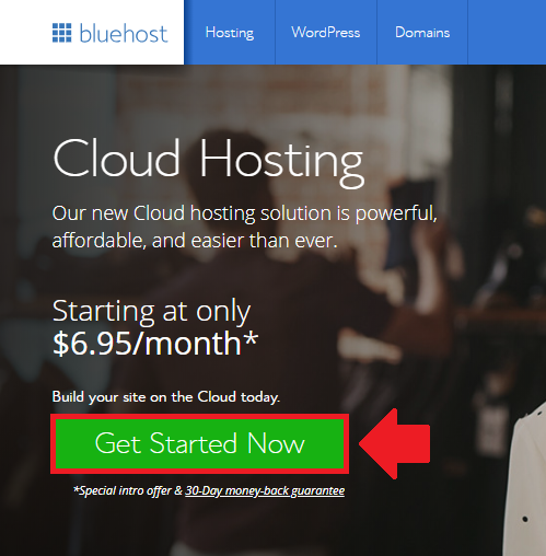 click on the get started now button wordpress bluehost cloud sites