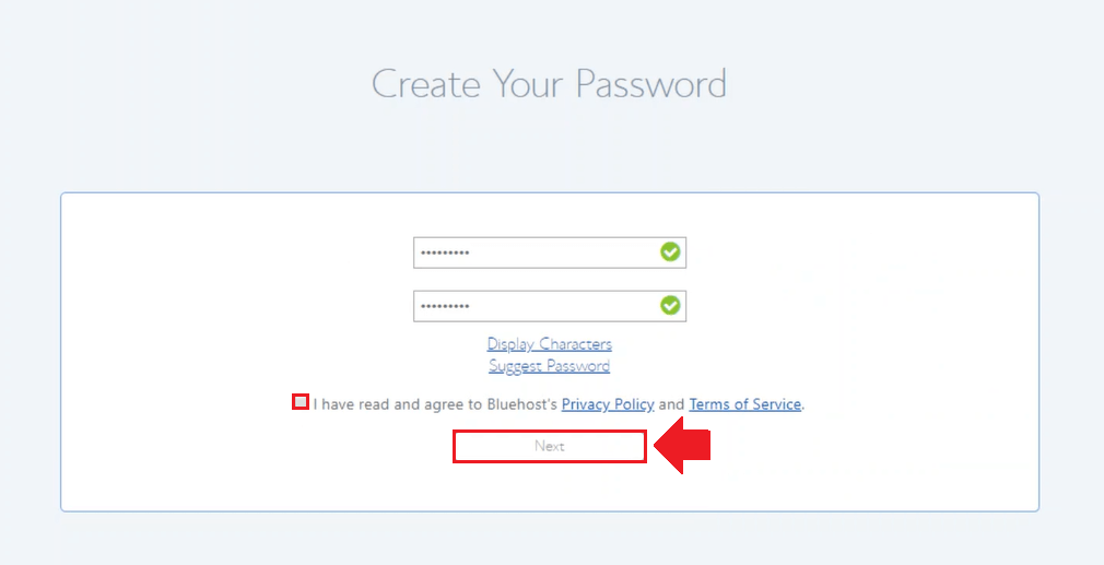 enter password information wordpress on bluehost cloud sites