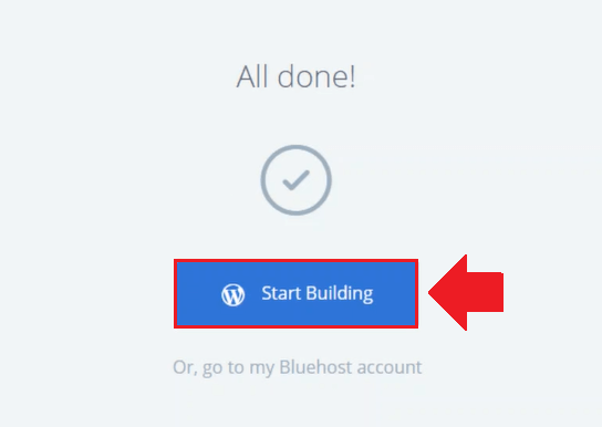 click on the start building button wordpress on bluehost cloud sites