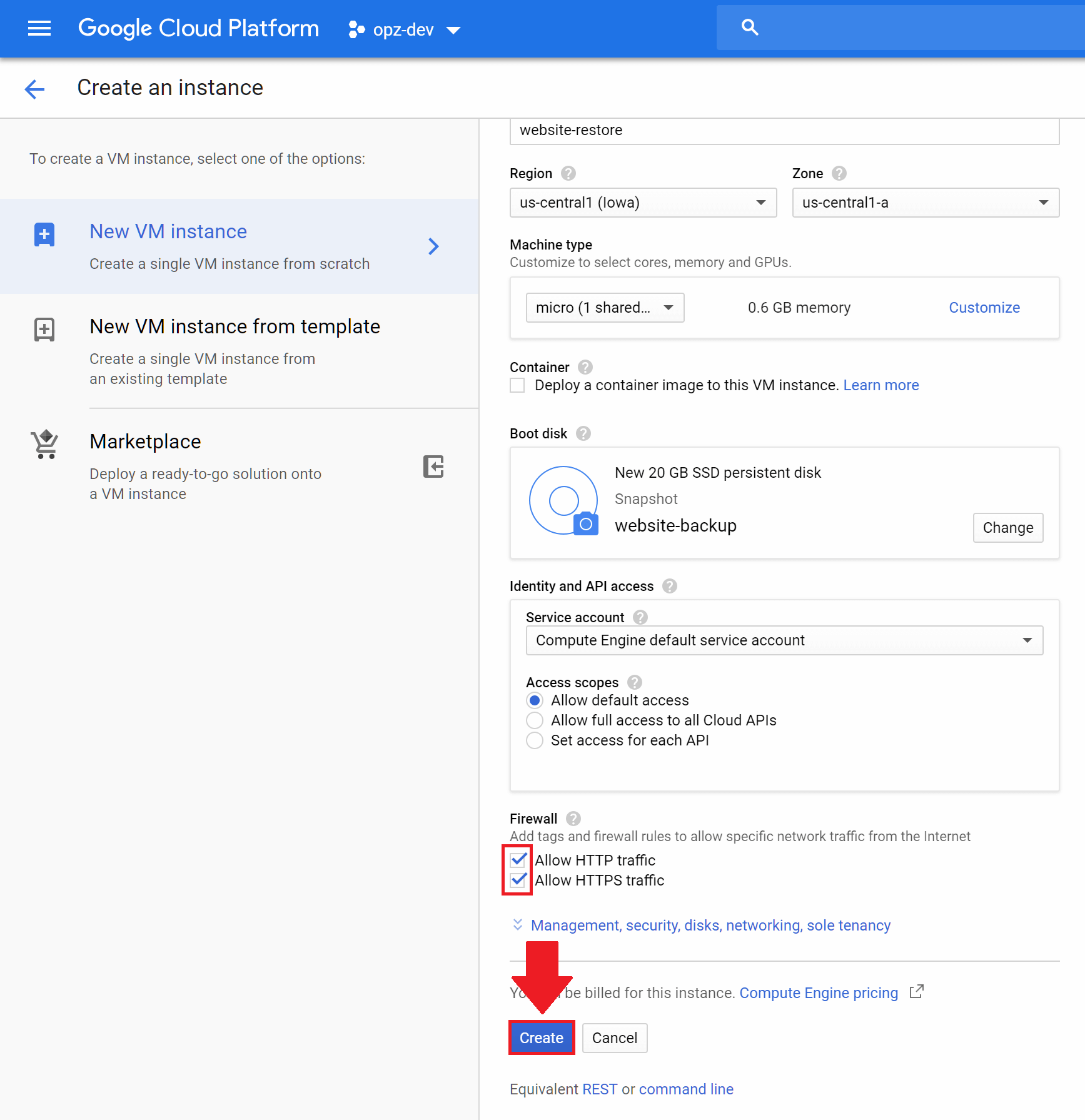backup and restore websites on google cloud