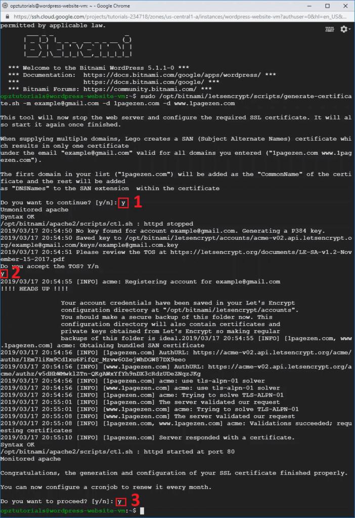 Setup Free SSL for WordPress on Google Cloud (Bitnami